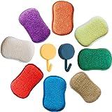 microfibre de cuisine de tampons à récurer double face éponges grattante non Odor Brosse à plat antiadhésif, idéal pour poêle
