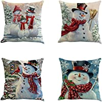 YEKEYI 4pcs Happy Christmas Pillow Cover Decorative Cotton Linen Sofa Pillow Case Cushion Cover Pumpkin Ghosts Pillowcases Home Decor