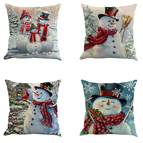 Metyou 4pcs Happy Christmas Pillow Cover Decorative Cotton Linen Sofa Pillow Case Cushion Cover Pumpkin Ghosts Pillowcases Home Decor