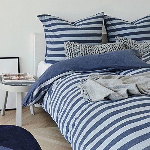 Traumschlaf Jersey Melange Wendebettwäsche Stripe blau 1 Bettbezug 135x200 cm + 1 Kissenbezug 80x80 cm -