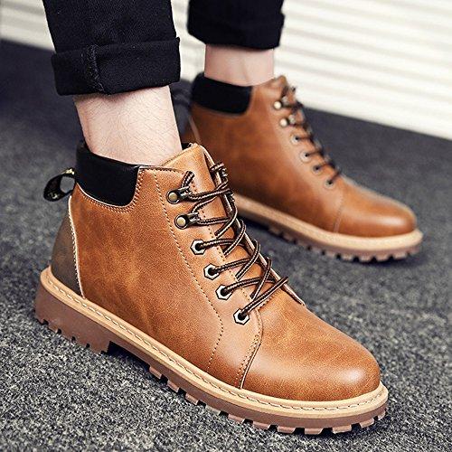 FEIFEI Scarpe da uomo PU Materiale resistente all'usura Trendy Martin Boots 3 colori ( Colore : Marrone , dimensioni : EU42/UK8.5/CN43 ) Giallo