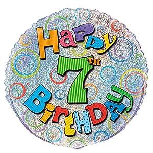 Unique Party Globo Foil cumpleaños Happy 7th Birthday, 45 cm (55497) , Modelos/colores Surtidos, 1 Unidad