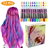 Philonext Colorful Professional Waxy Hair Chalk Pens Non-Toxic Metallic Glitter Temporary Hair Color (12 Colors)