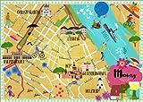 Poster 40 x 30 cm: Bunter Stadtplan Mainz von Elisandra