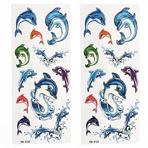 Dolphin Papier (Dolphin-Muster-Papier-Aufkleber-temporäre Tätowierungen 2 Blätter Bunte)