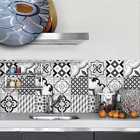 20 carrelage 15x15 cm - PUV0042 Décoration adhésive effet céramique pour salle de bains et cuisine Stickers design - Otranto
