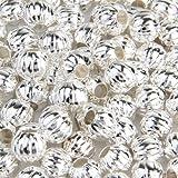 Ecloud Shop 100X Abalorios Bolas Bañado de Plata Redondo Pulsera Collar 6mm