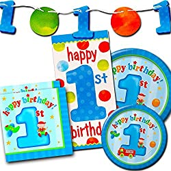 1st Birthday Boy Party Supplies Set -- First Birthday Party Decorations, Plates, Napkins and More