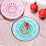 #7: HOME CUBE ® Silicone Sink Strainer Floor Drain Cover Hair Catcher Rubber Shower Trap Basin Filter For Bathroom Kitchen (2 PC Assorted Color)