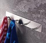 Handtuchhalter ohne bohren von Ruicer, Hakenleiste Selbstklebend Küche Handtuchhaken für Bad 23cm Edelstahl Gebürstet 4 Haken