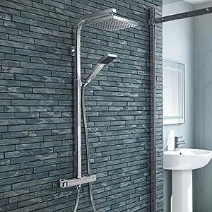 VeeBath Cheltenham Square barre de douche de 20,3cm avec mélangeur à vanne thermostatique, robinet de douche double tête carrée, pomme de douche–chrome