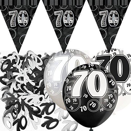 Deko-Set zum 70. Geburtstag- Schwarz/Silber/Glanz