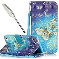 iPod Touch 5 Case Blue,iPod Touch 6 Case Blue,Leather Case for iPod Touch 5th / 6th Generation,Vioela Creative Novelty 3D Cool Pattern Ultra Slim PU Leather Folio Wallet Flip Magnetic with [Blue Wrist Strap] and [Card Holder Slot] shockproof Protective Case Cover with stand for Apple iPod Touch 5th/6th Generation with Bling Stylus- Blue Gold Butterflies