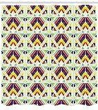 Abakuhaus Ethnisch Duschvorhang, Bunte Streifen und Dreieck, mit 12 Ringe Set Wasserdicht Stielvoll Modern Farbfest und Schimmel Resistent, 175x240 cm, Mehrfarbig