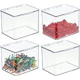 mDesign boîte de rangement pour jouets – boîte en plastique robuste empilable avec couvercle intégré – casier de rangement en