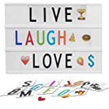 Mircacorn LED A4 Light Box with 204 Letters Numbers Emojis, USB or Battery Supply Cinematic Lightbox for Home Wedding Party H