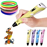 3D Pen Second Generation for Kids/Adult/Children with 3m FREE Filament + 30 m extra Filament (YELLOW)