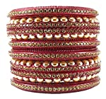 Upgrade your existing jewellery collection with this beautiful rajasthani pair of bangle set from the house of Sukriti. This aqua bangle set comes with four piece bangles & 2 piece kadaa studded with golden color stones which will enhance your at...