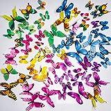 AMSTRONG 72 PZ Colorful 3D Farfalla Luminosa Adesivo Murale Adesivi Murali Smontabili DIY-Art Decor Artigianato Farfalla per La Decorazione Domestica Camera Dei Bambini Arredamento Camera Da Letto