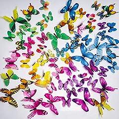 Idea Regalo - AMSTRONG 72 PZ Colorful 3D Farfalla Luminosa Adesivo Murale Adesivi Murali Smontabili DIY-Art Decor Artigianato Farfalla per La Decorazione Domestica Camera Dei Bambini Arredamento Camera Da Letto