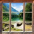 """Infrarotheizung Premium rahmenlos mit Bild, 300 Watt, 60x60, Motiv """"Holzfenster"""" von Insidehome - Heizstrahler Onlineshop"""