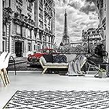 FORWALL AMF11674_VE Papier Peint Photo en Tissu Non-tissé Motif Voiture Rouge dans Paris, Non-tissé, Schwarz und Weiss,Rot, VEXXL (312cm. x 219cm.)