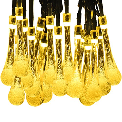Luci Natalizie LED Stringa Mpow, Lampada Solare 5 Mertri con 30 Goccia d'acqua LED Stringa Solare Impermeabile delle Luci di Natale Realizzata per il Giardino, Patio, Giardino, Casa, Albero di Natale (2 Pezzi, Bianco Caldo)