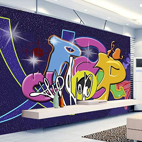Tapeten,Eigene 4D Wallpaper Kreative Serie Cartoon Doodle Buchstaben Kunstdruck Wandmalerei Hd-Drucken Poster Für Tv-Kulisse Wohnzimmer Schlafzimmer Cafe Home Home Decor Große Wandgemälde Aus Seide