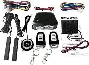 Festnight Auto Suv Schalter Keyless Entry Engine Start Alarm System Mit Vibrationssensor Push Button Remote Starter Stop Auto Diebstahlsicherung Auto