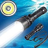 Cyful - Linterna de buceo Led Cree XM-L22000LM, resistente bajo el agua a 100m, luz submarina, batería recargable incluida.