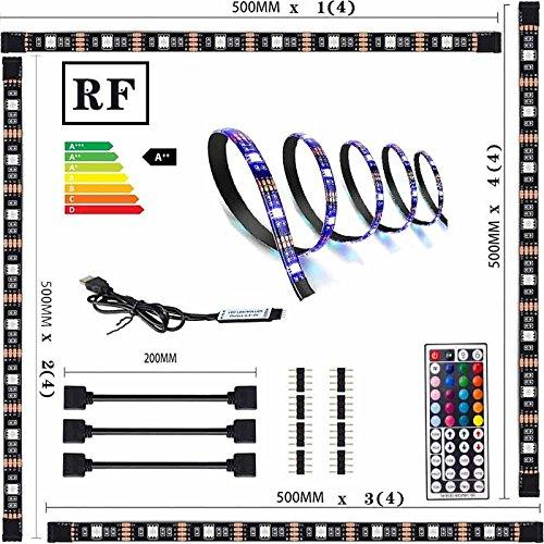 (LED Strip 2m - LED Band 2m 5050 SMD mit RF Mini Controller - RGB LED Stripes für 40-60 Zoll LED TV Hintergrundbeleuchtung USB LED Streifen mit Fernbedienung (4*0.5m))