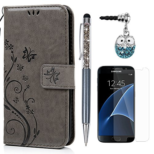S7 Hülle Case KASOS Handyhülle Brieftasche Book Type PU Leder Tasche Gemalt Magnetverschluss Ledertasche Cover,Blume-Schmetterling Gray + Stöpsel + Stylus + Schutzfolie für Samsung Galaxy S7
