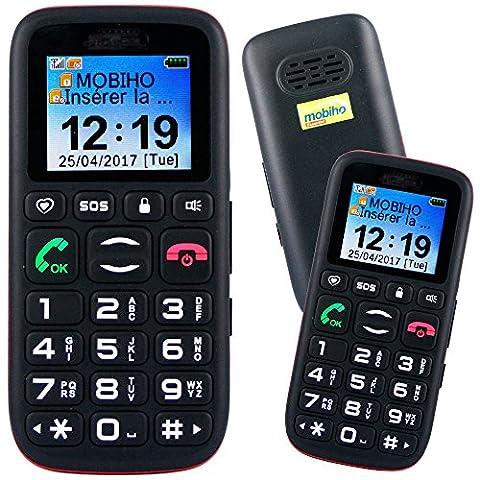 Mobiho-Essentiel le CLASSIC ALPHA, Seniors - Grosses touches - Bouton SOS - Double SIM - Ecran couleur (meilleur contraste) - Chiffres écrits gros sur l'écran - 10 raccourcis d'appels directs : touches 2 à 9, touches * et # - Son fort jusqu'à 88DB mesuré à 30 cm - SMS - Blocage facile du clavier en 1 touche - Lampe - Débloqué tout opérateur, Toutes cartes