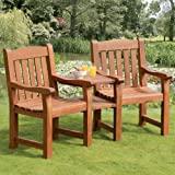 2 Seater Suntime Balmoral Companion Bench - Wooden Garden Garden Set with Arms - Outdoor Hardwood Seating Set