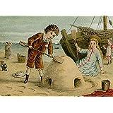 Diseño de juguetes, guardería y cuentos de hadas en la playa, Victorian postal de 1800, 250gsm brillante Art Tarjeta A3reproducción de póster