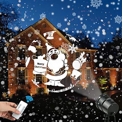Weihnachts Projektor Lichter, 3D Rotierende Wasserdicht LED weihnachtsprojektor lichter Projektionslampe mit Fernbedienung, Gartenleuchte Projektor Dekoration Licht für weihnachten -