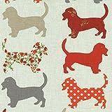 Baumwollstoff | 'Hound Dog' Hunde - grau, rotorange und