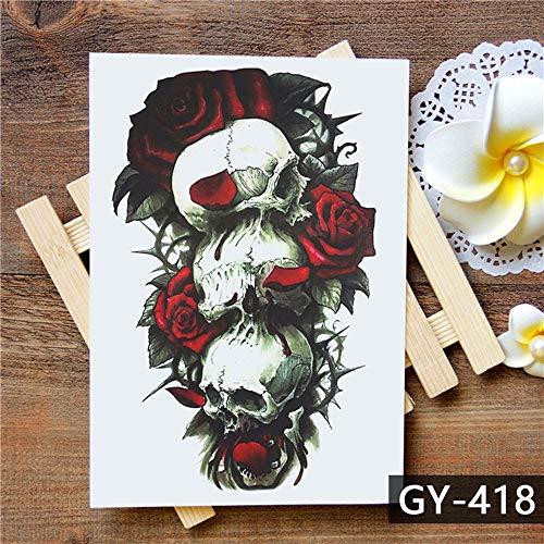 Tzxdbh 2pcs-adesivo tatuaggio temporaneo impermeabile fiore viola tatuaggio teschio tatuaggio trasferimento dell'acqua tatuaggio femminile tatuaggio 2 pz-
