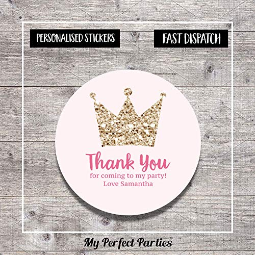 Personalised Princess Birthday Party Stickers Thank You Seals - Pack of 35 | Children