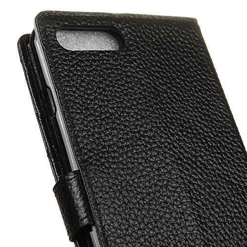 """MOONCASE iPhone 7 Plus Coque, Livre Style Housse en Prime Cuir Etui à rabat iPhone 7 Plus 5.5"""" Portefeuille Porte-cartes TPU Case avec Béquille Bleu Noir"""