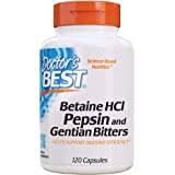 Doctor's Best Betaine HCl Pepsin & Gentian Bitters - 120 caps 120 unidades 140 g
