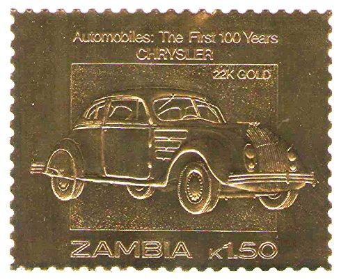 22k-carat-oro-leaf-auto-100-classici-francobolli-auto-chrysler-1987-zambia-mnh