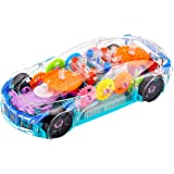Zest 4 Toyz 360 Degree Rotating Transparent Concept Racing Car with 3D Flashing Led Light Music for Kids 3+Ages , Electric Cars Toys for Children Kids Toys Gift