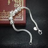 hosaire 1Piece Silber NMS Frauen Perlen Blume KFZ-Armband Frau Mädchen Perlen Armband geschnitzt Schmuck Geschenk Handgelenk Dekoration -