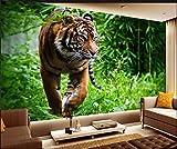 Yosot Individuelle Fototapete Tiger Dschungel Herumsuchen Mächtige König Der Tiere Hintergrund Große Wandbild 3D Wall Tapete Für Wohnzimmer-350Cmx245Cm