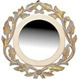 AMAZE SHOPPEE Wood Iron Wall Mirror (40 x 40 cm\, Gold)