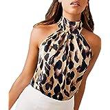 FRAUIT Camicia Donna Elegante Chiffon Camicia Donne Leopardata Corta Camicie Orlo Irregolare Cime Backless Top Canotta Elegan