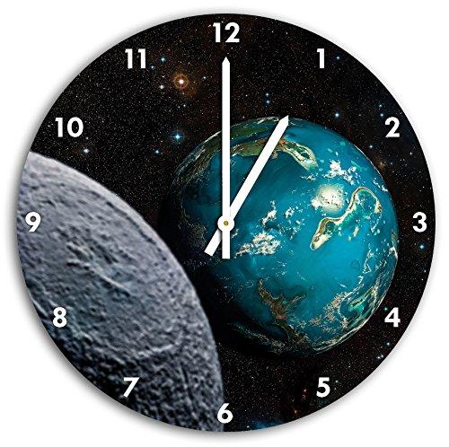Planet Erde im Kosmos, Wanduhr Durchmesser 30cm mit weißen spitzen Zeigern und Ziffernblatt, Dekoartikel, Designuhr, Aluverbund sehr schön für...