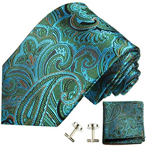 Cravate bleu vert paisley ensemble de cravate 3 Pièces ( 100% Soie Cravate + Mouchoir + Boutons de manchette )