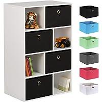 Hartleys White 8 Cube Kids Storage Unit & 4 Easy Grasp Box Drawers